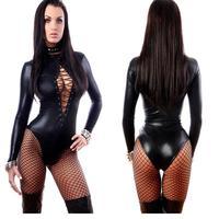 Mujeres de Cuero Negro Sexy Body Lencería Erótica Leotardo Trajes de Goma Flexible Hot Sexy Latex Catsuit Costume Catwomen