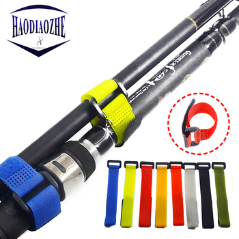 10Pcs Reusable Fishing Rod Tie Holder Strap Suspenders Fastener Hook Loop Cable Cord Ties Belt Fishing Tackle Box Accessories