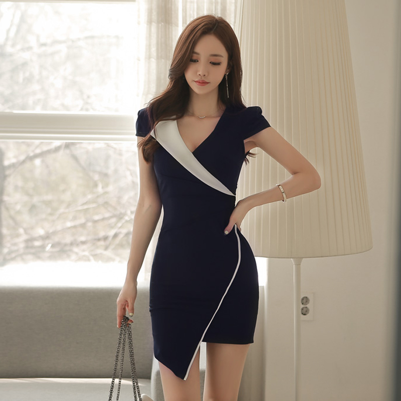 2020 Fashion Women Dress Notched V-collar Short Sleeve Irregular Slim Bodycon Dress Office Lady Sexy Dress Vestidos Robe