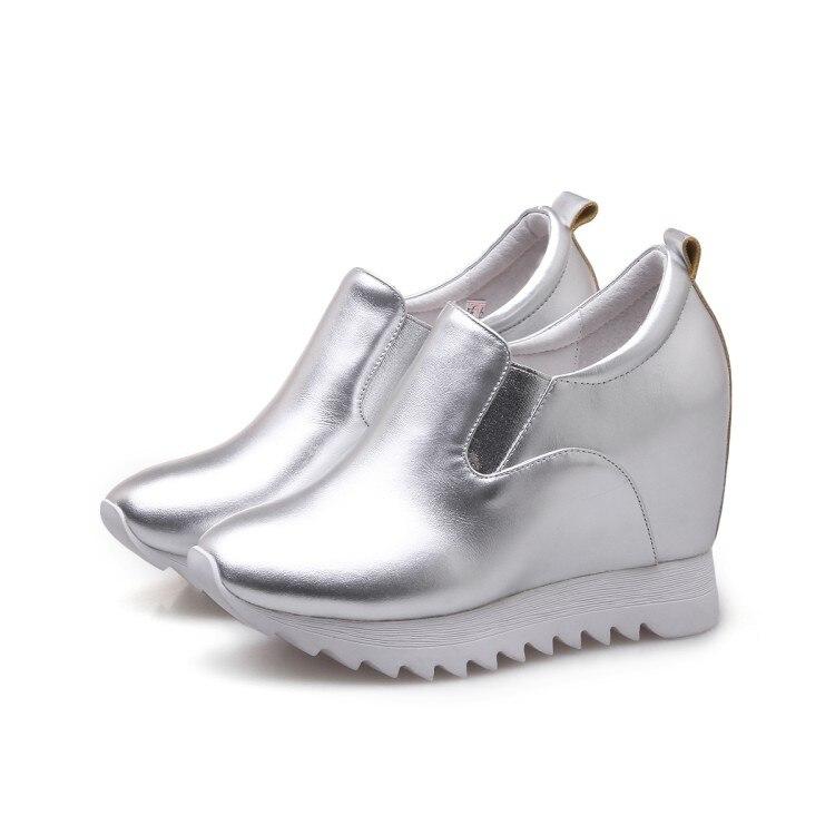 Alti Ginnastica Mljuese Eleganti Silver Cuoio Scarpe Pompe Del Delle white Zeppe Aumento black Di 2018 Interno Della Da Genuino Moda Tacchi Piattaforma twwSqA