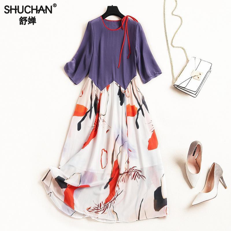 74756da9504 Shuchan натуральный шелк новое поступление платье 2019 Лоскутная винтажное