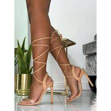 Liren 2019 Summer Fashion Sexy Cross-tie Lace-up Sandals High Thin Heels Open Round Toe Lady Women Shoes Size 35-40