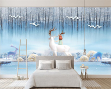 beibehang Custom wallpaper modern minimalist Elk forest artistic conception  TV background wall 3d papel de parede