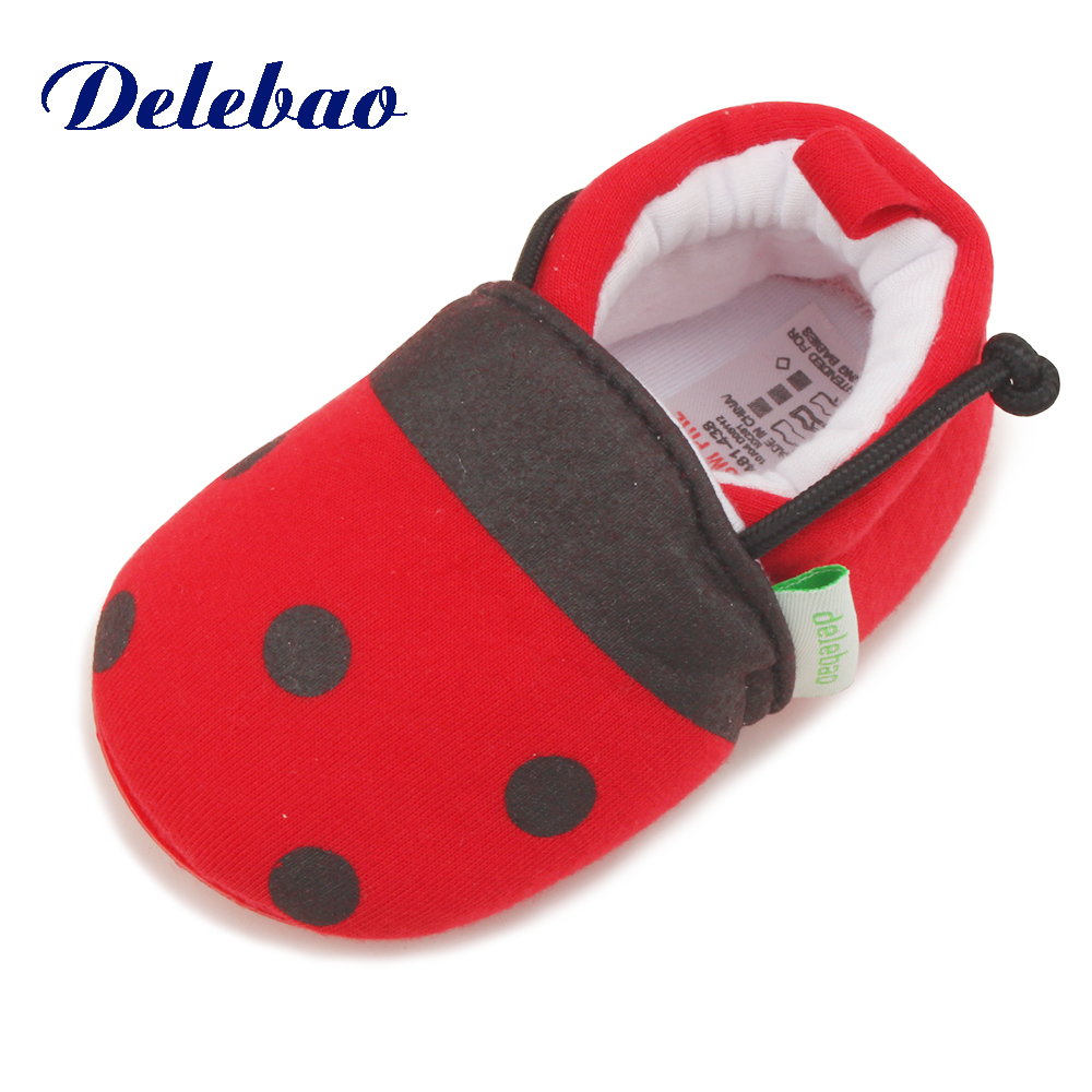 Delebao Brand Of Design Baby Rubber Shoes The Beatles Red Dot Cotton Newborn Baby Infant First Walkers