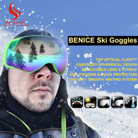 Be Nice Brand Professional Fashion Snowboarding Glasses Snow UV Protection Multi Color Double Anti Fog Skiing