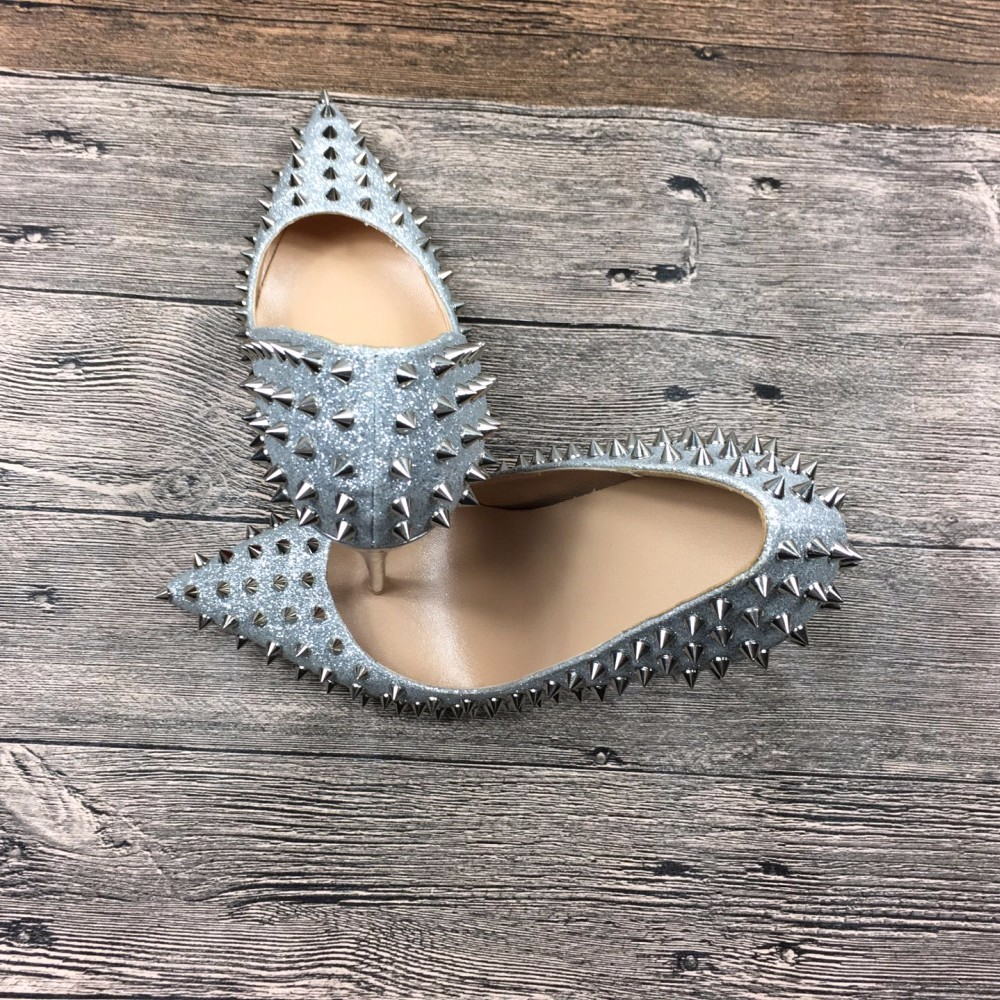 Designer Stud Robe Ruban Rivers Femmes 2018 Luxe Partie Pompes Talons Scarpin Chaussures Sur Femme Mariage Slip Glitter Haute De zrw1aznq