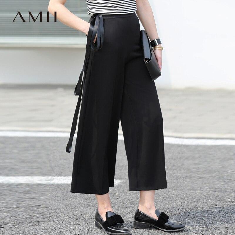 Amii Women Minimalist   Wide     Leg     Pants   2019 Office Lady High Waist Ankle Length Female Trousers