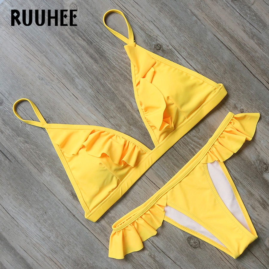Bikini Swimwear Swimsuit Bathing Suit Women Sexy Lotus Fold Edge Biquini Push Up 2017 Bikini Set Beachwear Maillot De Bain Femme new sexy swimwear women bikini set halter unpadded bra tankini two piece high neck print swimsuit bikini 2017 maillot de bain