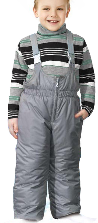 ФОТО  Children's Winter Thick Trousers Grey Girls Warm Bib Pants Kids Ski Pants Boys Black Bib Overalls Fleece Lining