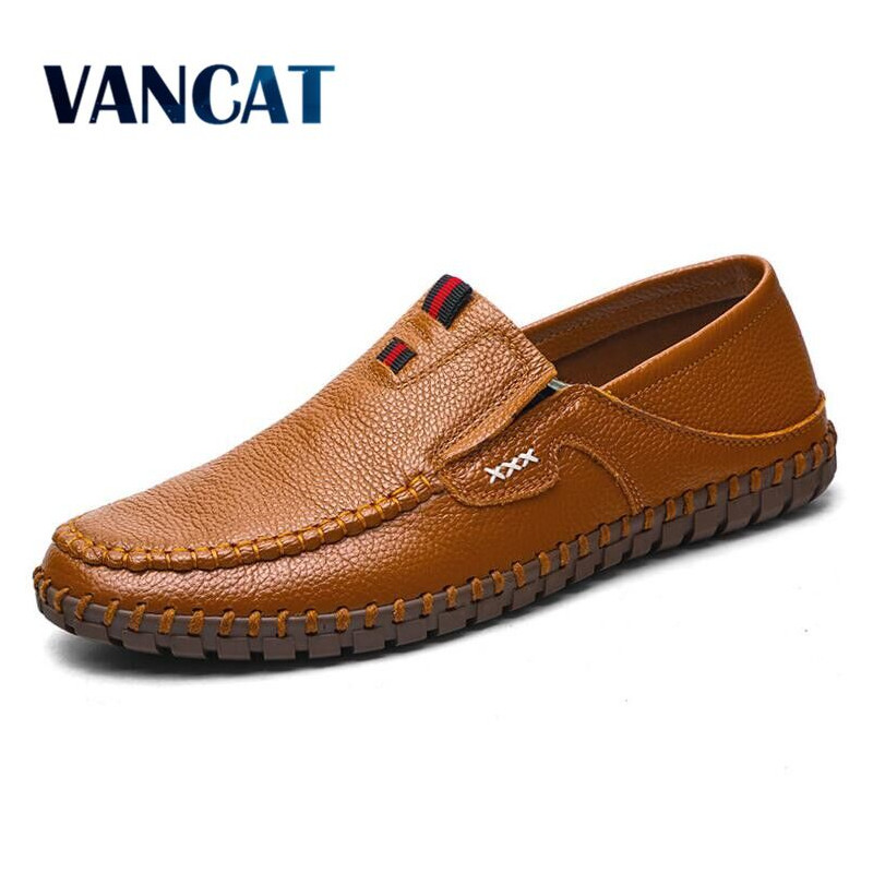 VANCAT Brand Size 38-47 Fashion Handmade Brand Genuine leather men Flats,Soft leather men Male Moccasins,High Quality Men Shoes cbjsho brand men shoes 2017 new genuine leather moccasins comfortable men loafers luxury men s flats men casual shoes