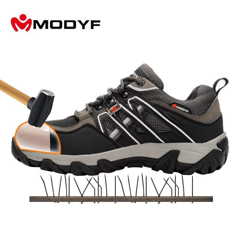 Modyf Для мужчин Сталь носком Детская безопасность работы Обувь дышащая Пеший Туризм Сапоги и ботинки для девочек Многофункциональная Защита обувь