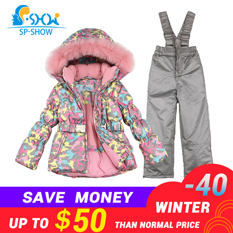SPSHOW Kids Girls Winter Clothes Luxury Brand 3 8 Age Down Thick Warm Fleece Winter Jacket Fur Hooded Jacket + Trousers Ski Suit