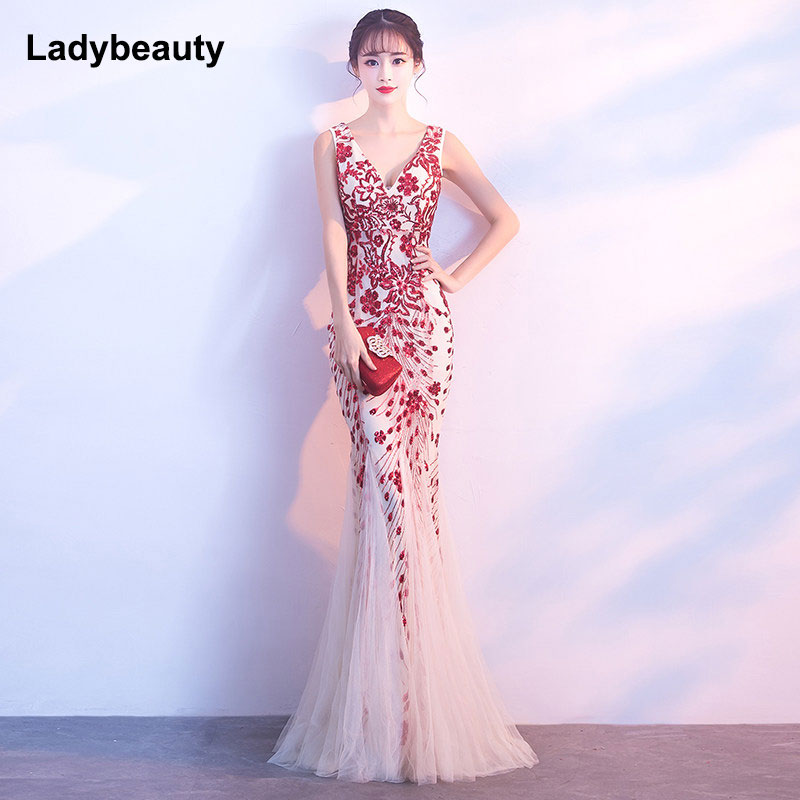 Ladybeauty New arrival 2018 Mermaid V-neck   Evening     Dress   vestido de festa Formal party   dress   Luxury Red Long Sequin prom gowns