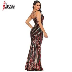 Image 5 - IDress Sexy Black Red Elegant Women Evening Party Dress 2019 Summer Lady Wear Slim Vestidos Femninos Sequined Long Dress Vestido