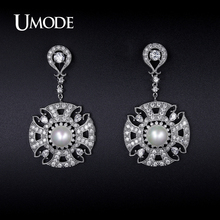 UMODE Synthetic Pearl Simulated Diamond Mismatched Dangle Earrings For Women 2016 Costume Jewelry Fashion Girls Hot Gift AUE0220