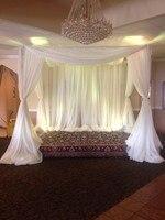 送料無料フィート*フィート*フィートホワイト色正方形キャノピードレープ付きステンレススチールスタンド、結婚式ステージカーテン