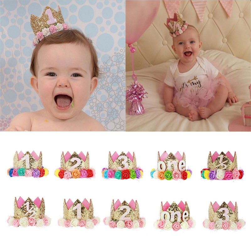 1 pc Acrylic Tiaras Baby's Birthday Party Hat Decorations Hairband Princess Queen Crown Lace Hair Band Elastic Gifts For Kids