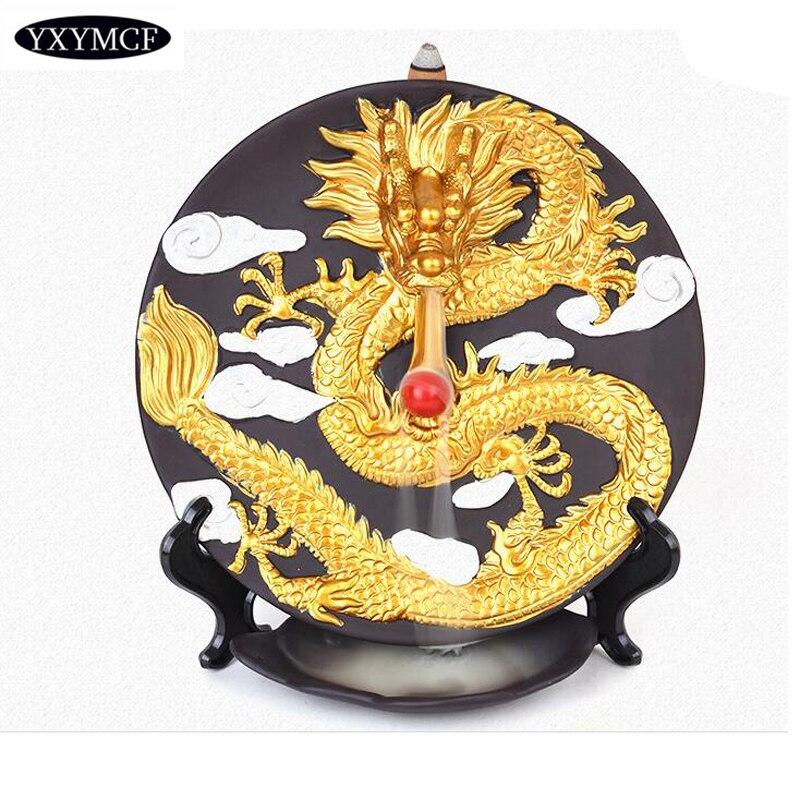 La Base d'encens Dragon doré haut de gamme brûleur Incnese peint à la main Machine à enlever les odeurs pour les ornements de décoration intérieure