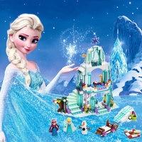 316 pcs boîte de Couleur Rêve Princesse Elsa Glace Château Princesse Anna Ensemble Modèle Blocs de Construction Cadeaux Jouets Compatible legoe Amis