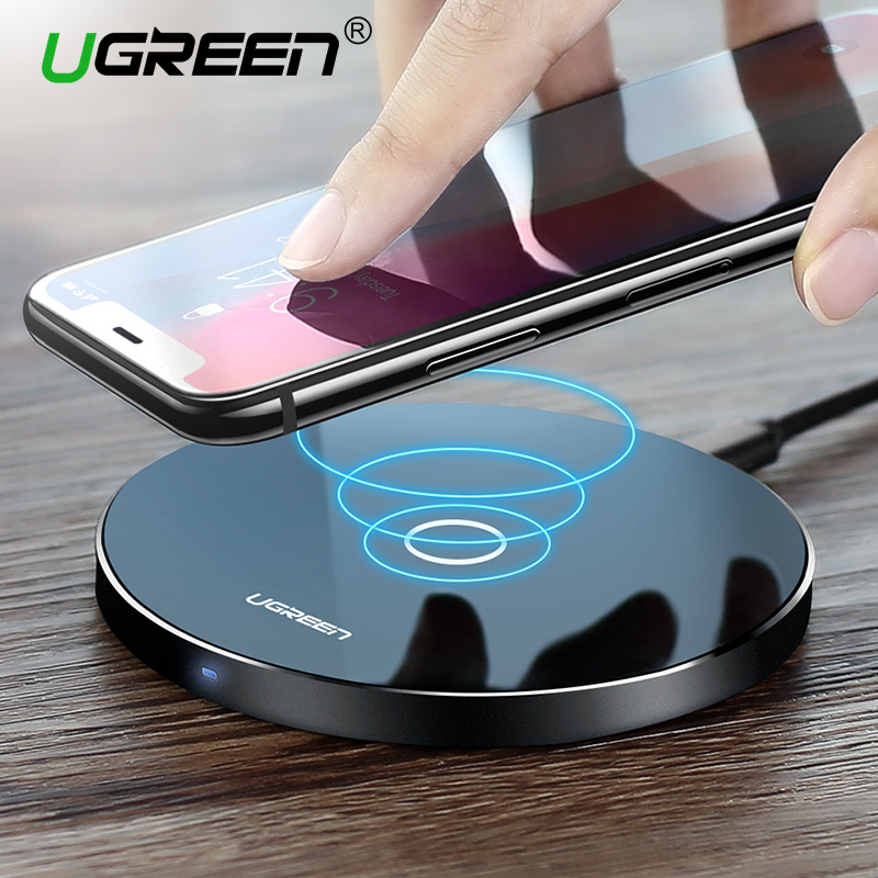 Ugreen Caricatore Senza Fili per iPhone X 8 XS 10 w USB Wireless di Ricarica per Samsung Galaxy S8 S9 S7 Bordo qi Wireless USB Charger