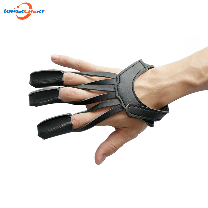 Archery Hunting Shooting 3 Finger Protective Guard with PU Leather for Training Practice Sports Finger Tip Protector Safe Glove