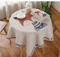 cartoon painting fox/bear tablecloth home square coffee durable table cloth round table cover cotton linen