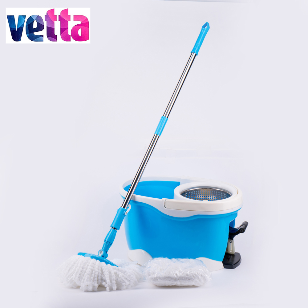2016 hot sale 2 mopheads high quality magic aluminium handle easy to use mop with bucket