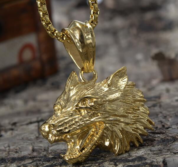 For Mens Gifts Biker Stainless Steel Hip Hop Jewelry Gold Wolf