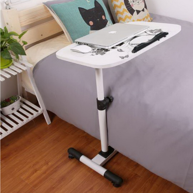 250303/Folding mobile small desk/Home bed with simple desk /Lazy bedside laptop desk /Wearable PU roller