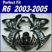 Горячие продажи наборы тела для YAMAHA R6 обтекатель комплект 2003 2004 2005 белое пламя в черном Fit YZF R6 обтекатели 03 04 05
