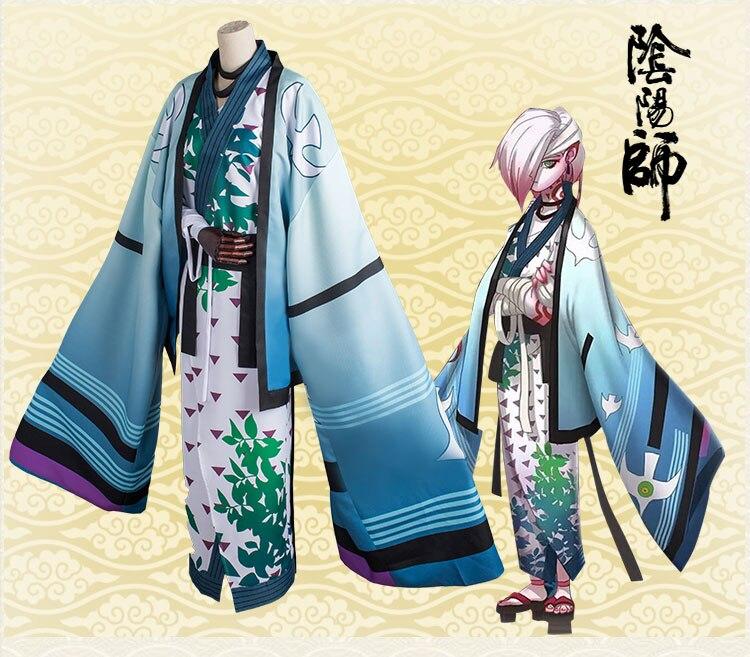 [STOCK] 2018 Hot Game Onmyoji ICHIMOKU REN Kimono Uniform Cosplay Custume Full Set Unisex For Halloween Free Shipping New.