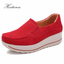 цены Hosteven Women Shoes Loafers Sneakers Moccasins Flats Platform Genuine Leather Spring Autumn Ladies Female Swing Shoe
