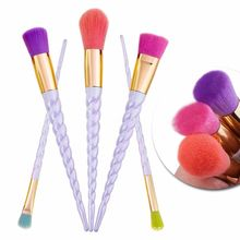 New 5PCS UniCorn Makeup Brush Sets Candy Color Brushes Spiral Handle Cosmetic Foundation  Eyeliner Lip New Design Makeup Brush