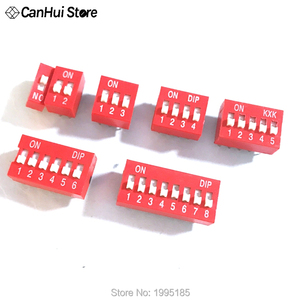 10pcs Slide Type Switch Module 1 2 3 4 5 6 7 8 PIN 2.54mm Position Way DIP Red Pitch Toggle Switch Red Snap Switch Dial Switch(China)