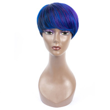 Short Mix P1b Purple/Blue/99j Colored Human Hair Wigs With Bangs 100% Brazilian Remy Hair Extension Afro Human Hair Wig все цены