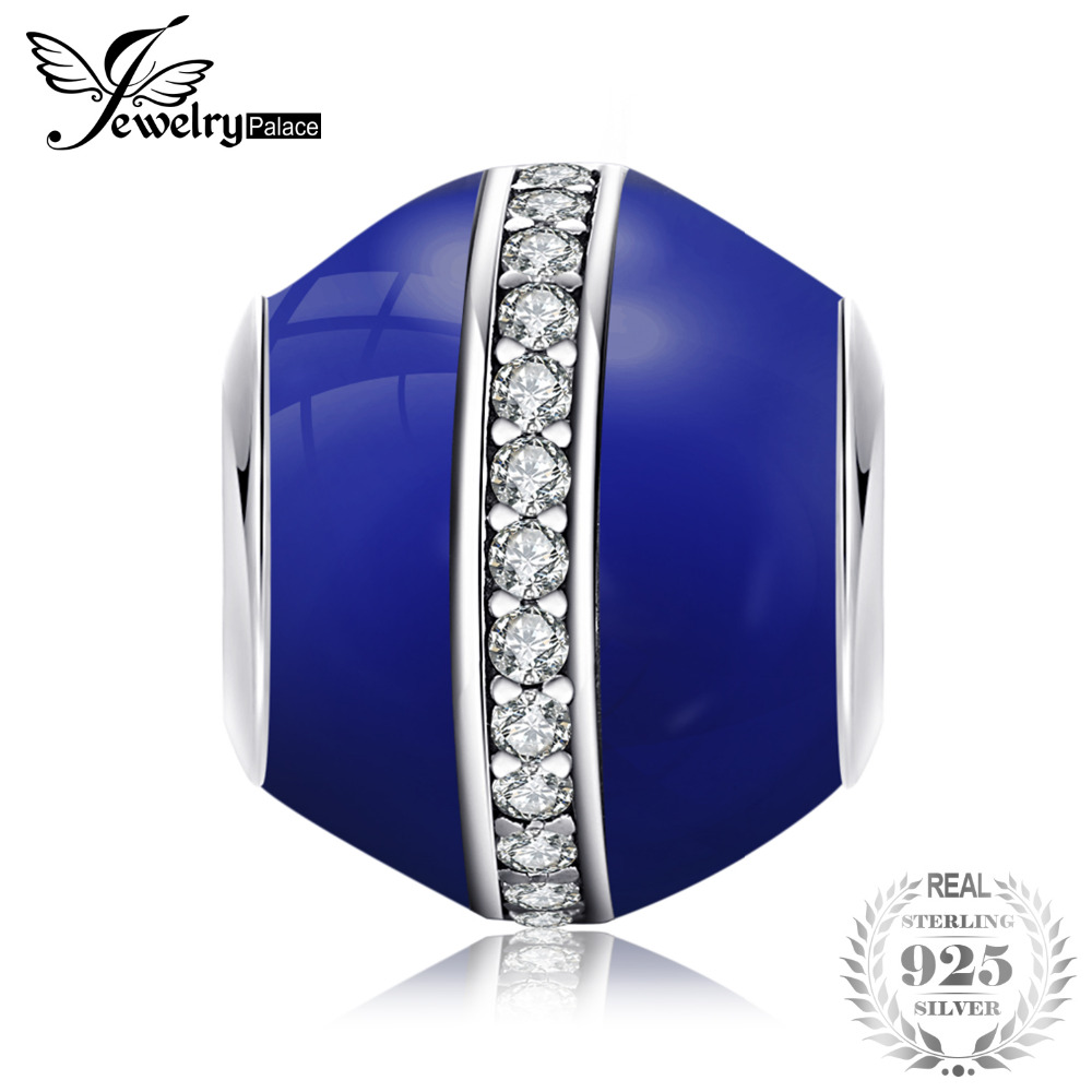 100% Wahr Jewelrypalace 925 Sterling Silber Saturn Blau Emaille Zirkonia Perlen Charms Fit Armbänder Geschenke Für Frauen Mode Schmuck