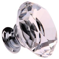 8X40 MM krystalicznie czyste szkło klamki uchwyty diament szuflada szafka meble Drop Shipping w Uchwyty szafek od Majsterkowanie na