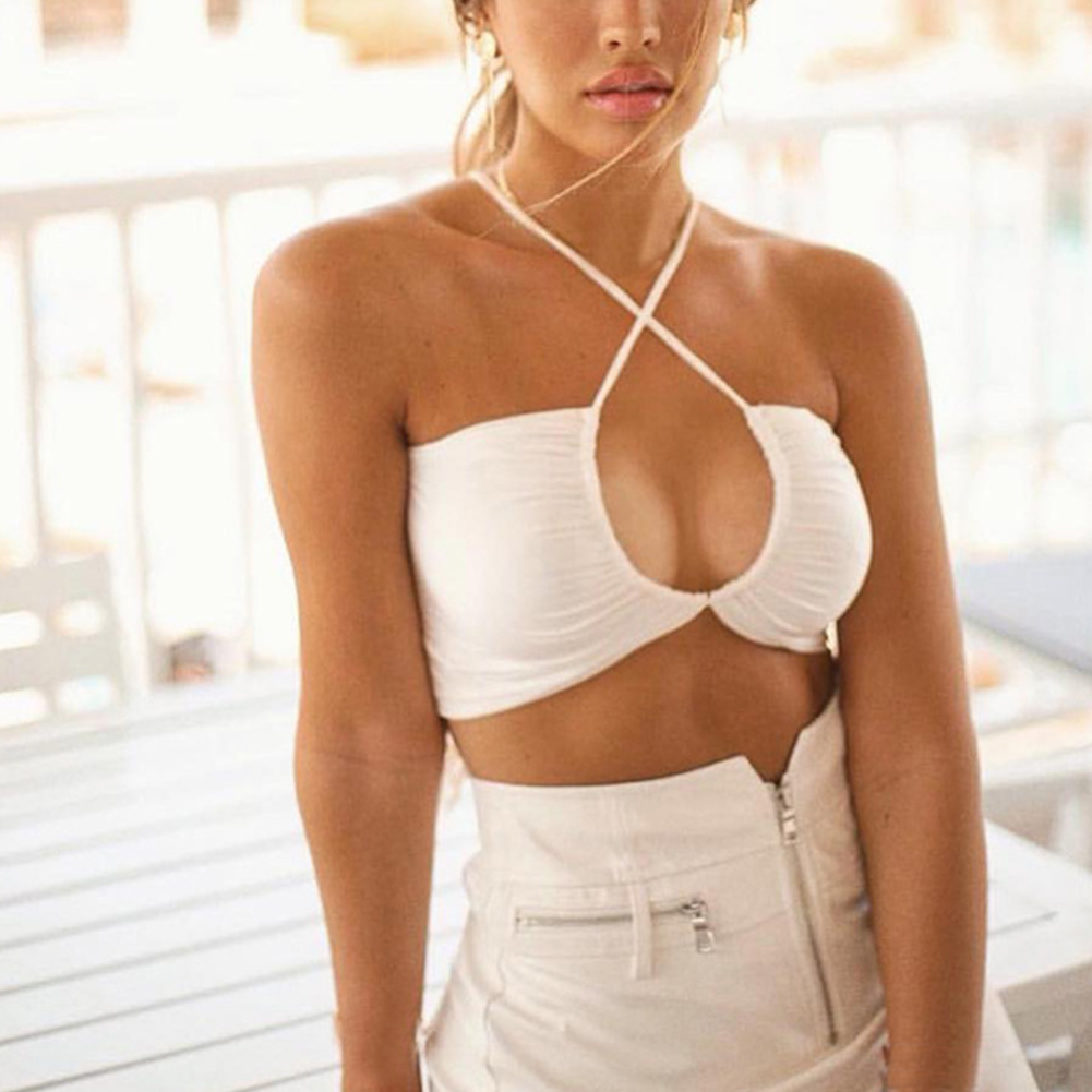 Women   Tank     Tops   Fashion Spaghetti Strap Wrapped Chest Summer Solid Outwear Backless Sexy Bra Cropped Comfortable Holiday Beach