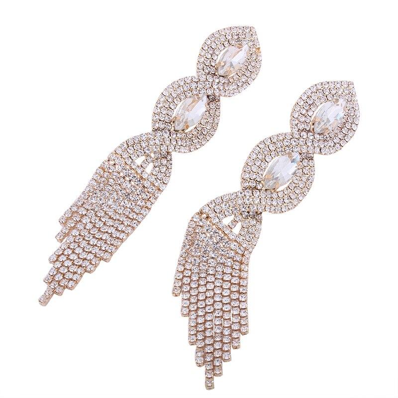 Lalynly проложили Стразы длинные серьги-кисточки большие золотые свадебные серьги для невест Роскошные ювелирные изделия серьги с камнями E08371