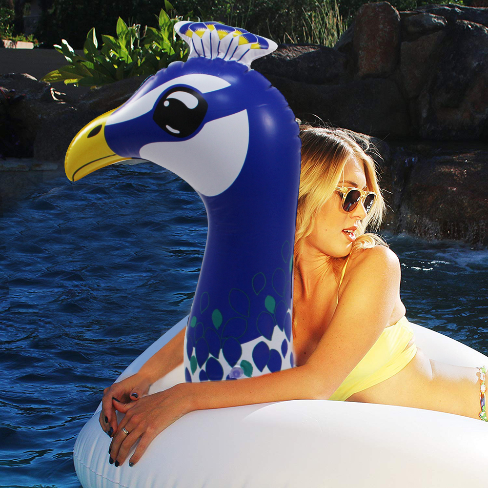 156cm Giant Peacock Inflatable Tube Swimming Ring 2019 Newest Pool Float For Adult Children Water Party Toys Air Mattress Lounge 3
