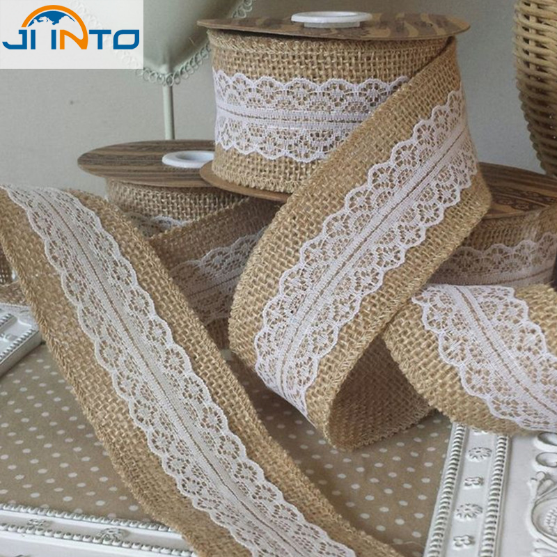 5pcs*1m Natural Jute Burlap Hessian Ribbon with Lace Trims Tape Rustic Wedding Decor wedding cake topper