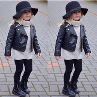 Children S Warm Jacket Faux Leather Autumn Winter Girl Boy Kids Baby Outwear Leather Coat Short