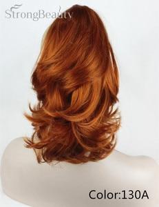 Image 5 - 強い美容合成ショート波状ブロンド黒ポニーテールクリップで/上のヘアピース爪クリップポニーテイル用髪エクステンション