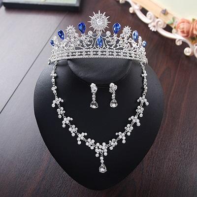 Bride Diaries New Design Crystal Pearl Bride 3pcs Set Necklace Earrings Tiara Bridal Wedding Jewelry Set Accessories (22)