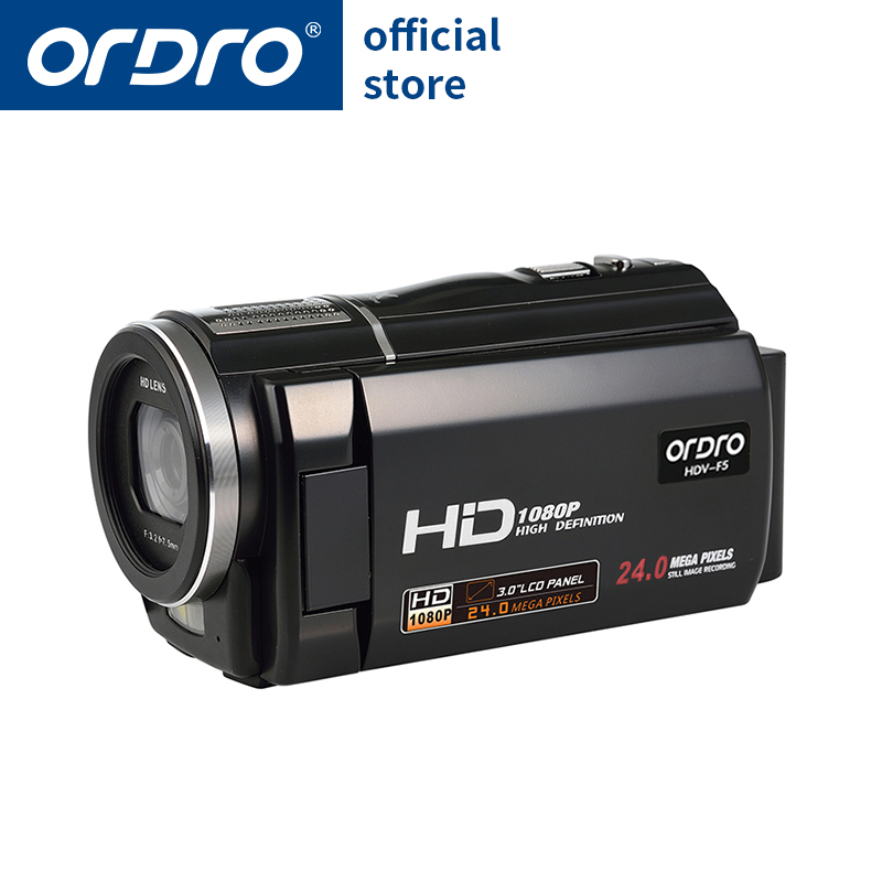 ORDRO Digital Video Camera HDV-F5 Portable 1080P 30fps Camcorder HD with Super Wide Angle Lens Remote Control