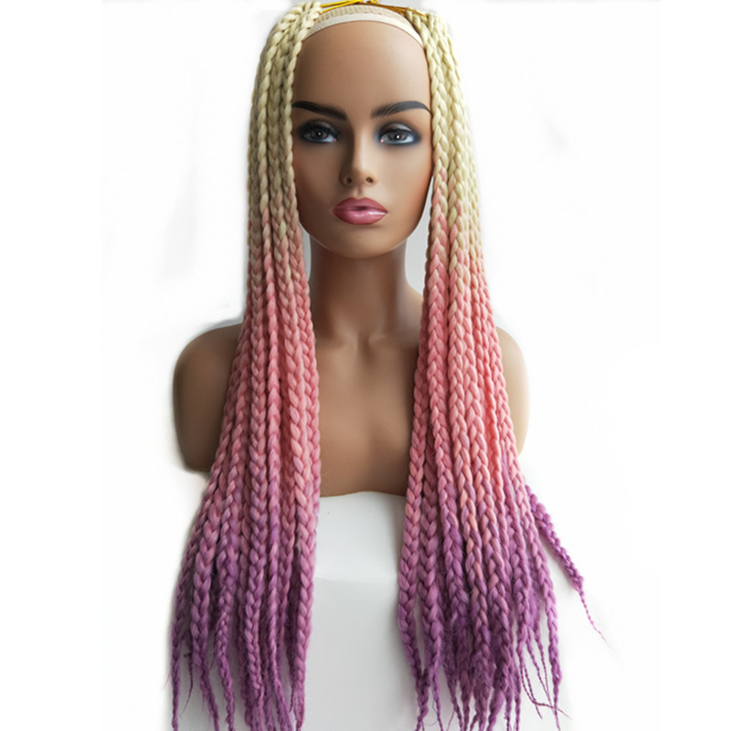 10 packs Pervado Hair Synthetic 3s Box Braids Hair Extensions 24 100g Pink Purple Green Orange