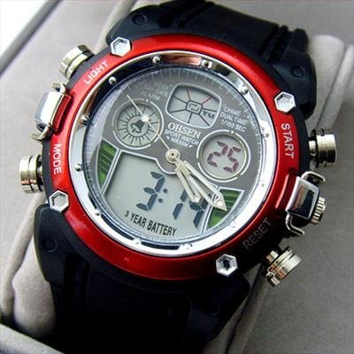 hot Digital DualTime Multifunction silicone watch Chronogragh led Sport Watch DIVE
