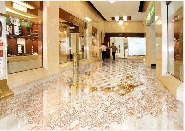 Zelfklevende Bamboe Vloer : Gemarmerd mozaïek betegelde vloeren waterdichte vloer mural