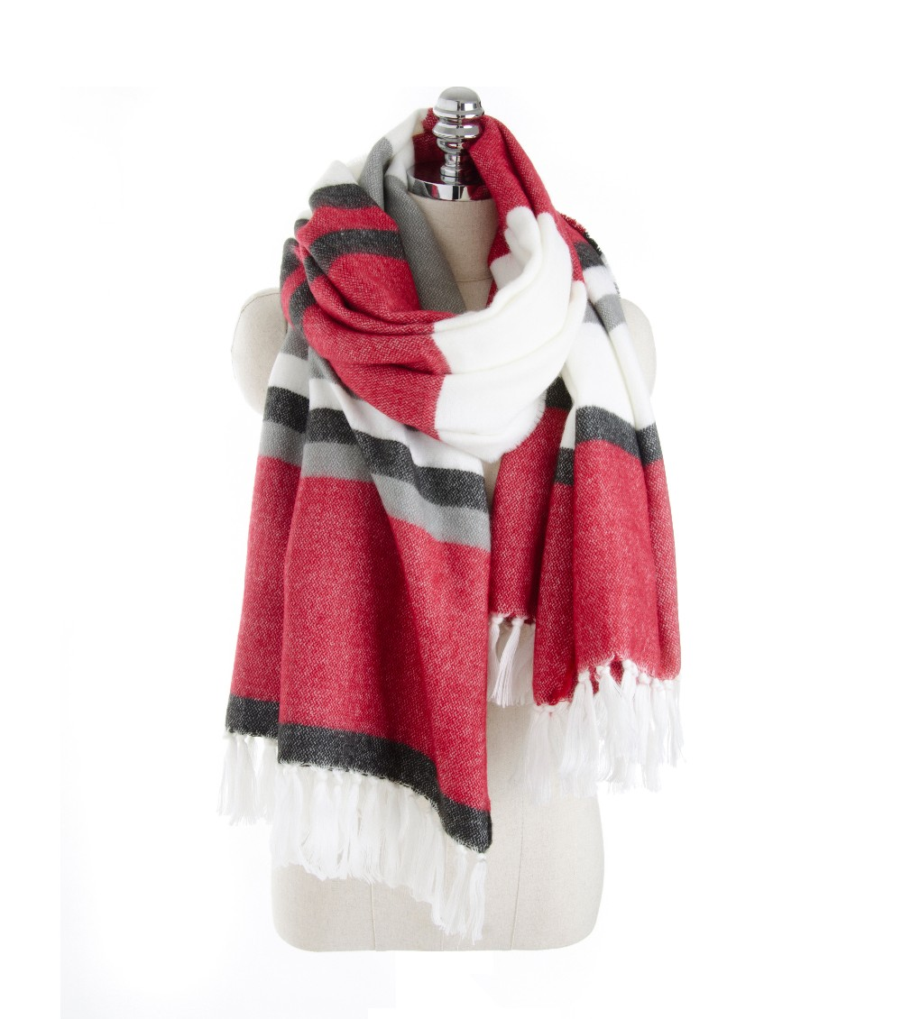 Horizontal Striped Cashmere Scarf | Blanket Scarves | Up to 60% Off Now