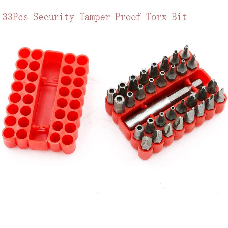 33Pcs Security Tamper Proof Torx Bit Set Spanner Star Hex Holder Rod Screwdriver Tool Parts brand new 10pcs 12 point mm triple square spline bit socket set for tamper proof lug nuts cylinder head bolt